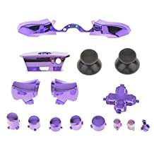 MagiDeal Set of 16 Chrome Replacement Buttons Bumper Trigger for NEW XBOX One Purple