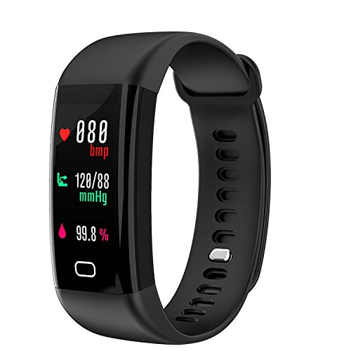 Huangchao Inc Fitness Tracker, Smart Watch 4 sports Mode, Heart Rate Monitor IP67 Waterproof Activity Tracker, Sleep & Blood Pressure Monitor, Calorie/Step Counter Smart Wristband for IOS Android by Huangchao Inc