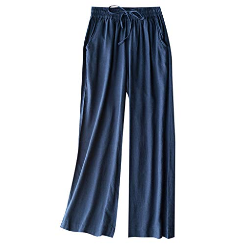 TIFENNY Casual Straight Trousers for Womens Wide Leg Elastic Waist Cropped Trousers Bottoms Sports Wear Sweatpants ()