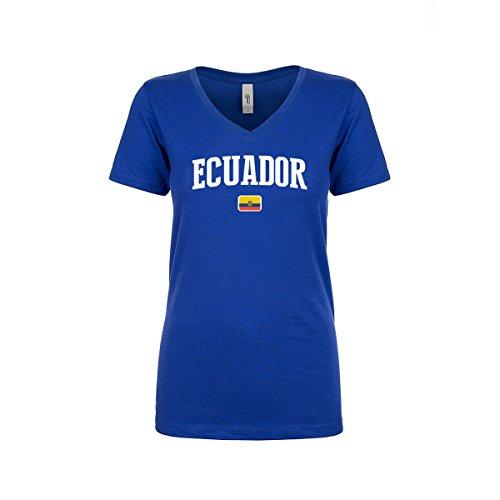 nobrand Ecuador Women's Flag National Pride Woman V-Neck Tee T-Shirt (Women Blue S) from nobrand