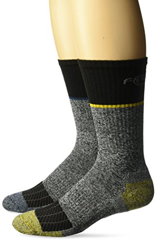 - Carhartt Men's Force Performance Steel Toe Crew Socks-2 Pair, black, grey, yellow, blue, Shoe Size: 6-12