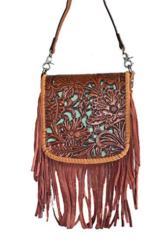 western floral tooled 100% leather fringe cross body purse (brown) -