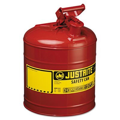 Justrite 7150100 Type I Safety Can with Trigger Handle for Flammables, 11.75'' Outside Diameter, 16.875'' Height, 5 gal, Steel, Red