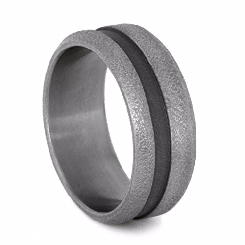 Deep Frost, Sandblast Titanium 8mm Grooved Comfort-Fit Band 8mm Comfort-Fit Band, Size 14 by The Men's Jewelry Store (Unisex Jewelry)