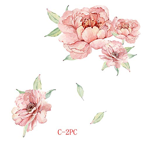 FILOL Flowers Wall Decals Decor Sticker, Rose Peony Wall Sticker Murals Vintage Art DIY Decals Nursery TV Background for Kids Living Room Nursery Bedroom Decor Gift (C-2PC)