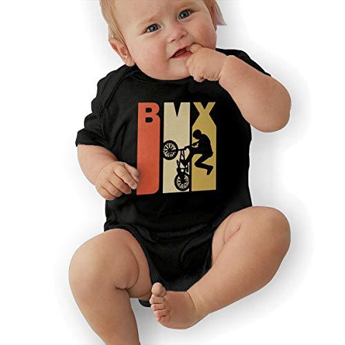 Retro 1970's Style BMX Silhouette Baby Clothes Newborn Boys Girls Short Sleeve Romper Bodysuit Rompers Black