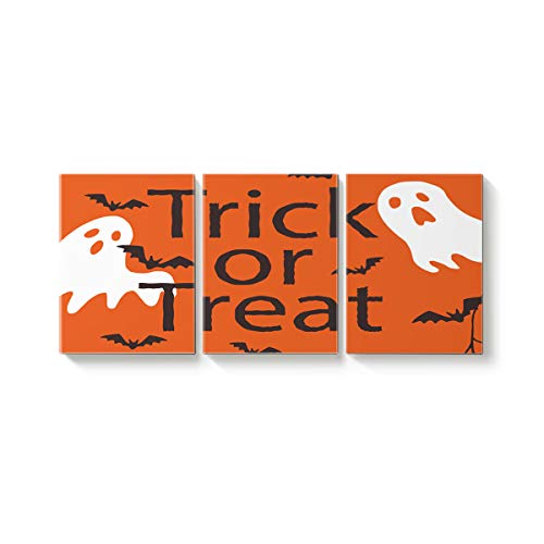 Arts Language 3 Piece Canvas Wall Art Painting for Office Bedroom Living Room Home Decor,Trick or Threat Halloween Ghost Design Pictures Modern Artworks,24 x 36in x 3 Panels
