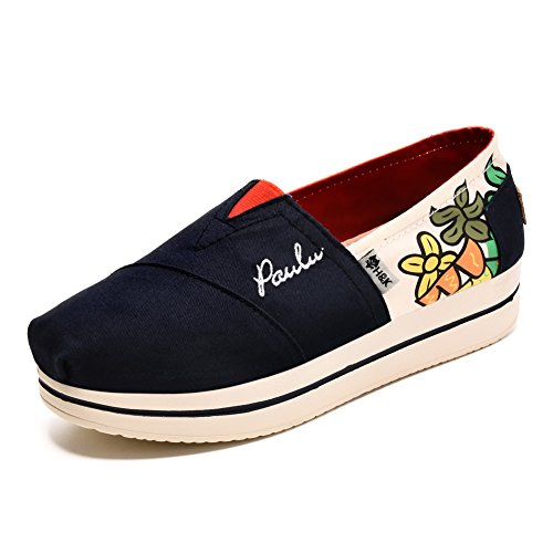 TIOSEBON Women's Girls Canvas Classic Slip On Shoes 9 US Navy