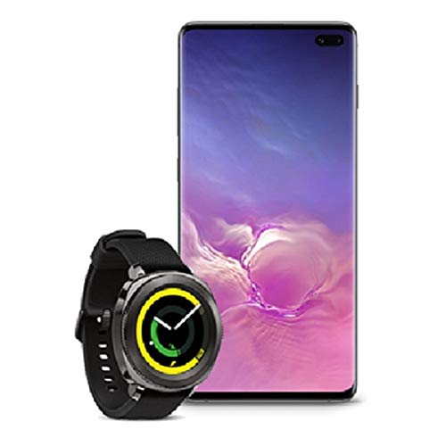 Samsung Galaxy S10+ Factory Unlocked Phone with 1TB, Ceramic Black with Samsung Gear Sport Smartwatch (Bluetooth), Black, SM-R600NZKAXAR