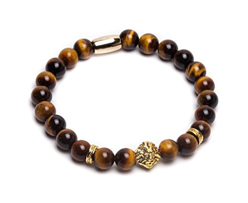 ZENGER 18kt Gold Plated Lion Head Beaded Bracelet (Yellow Tigers eye)