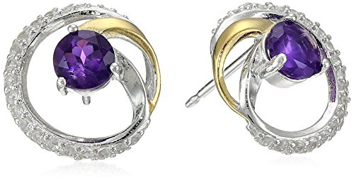 18k Yellow Gold-Plated Sterling Silver Two-Tone and Created White Sapphire Circle Stud Earrings