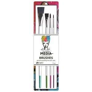 Ranger Dina Wakley Media Stiff Bristle Paint Brush, 0.5-Inch Flat, 4 Per Package