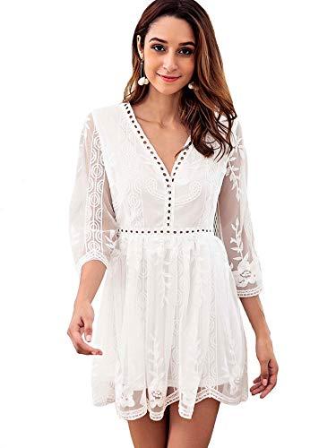 Verdusa Women's Pointelle Trim Mesh Overlay Embroidered Short Dress White S