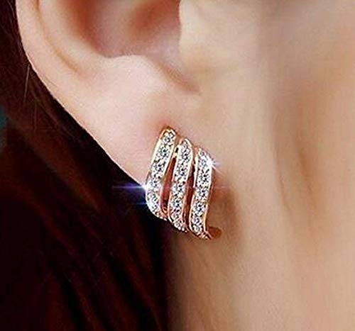 (Clearance! Lady Elegant Rose Gold Diamond-studded Curving Ear Stud Exquisite Earrings for Women Wedding Jewelry)