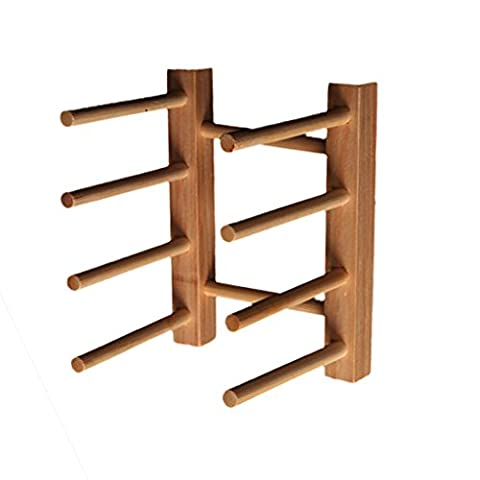 Kitchen Wood/Bamboo Holder Dish Storage Tray Rack Drainer Plate Stand - Rouge, 14*11.5*10.5cm - Wood Pot Rack
