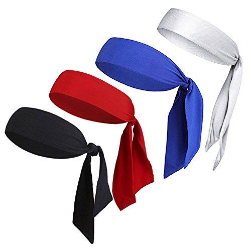 V-SPORTS Dri-Fit Head Ties Tennis Headbands Sweatbands for Women Men Boys Girls Kids Performance Elastic & Moisture Wicking by, 4 PCS Black/White/Red/Blue