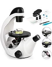 TELMU Inverted Microscope for Live Cell Imaging 40X-320X, Cordless LED Beginner Microscope Kit with Optical Lenses, Phone Adapter & 10 Slides