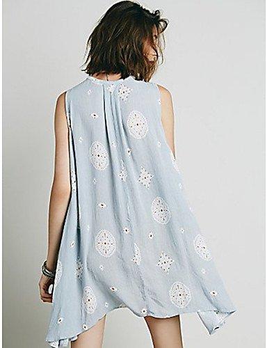 PU&PU Robe Aux femmes Swing Décontracté / Mignon , Imprimé Col en V Asymétrique Coton , light blue-m , light blue-m