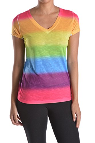 Tough Cookie's Women's Junior Rainbow Dye V Neck Tee (Small)