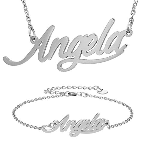 HUAN XUN Silver Color Plated Jewelry Angela Name Necklace Bracelet