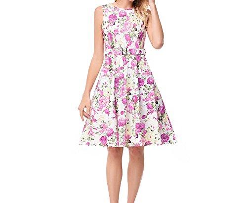 2018women's Navy Collar Belt Floral Skirt Hepburn Style Sleeveless Dress,W00837 White,M