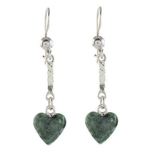NOVICA Jade .925 Sterling Silver Dangle Earrings 'Green Spirals of Love'