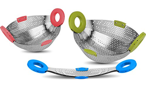Impulse Stainless Steel 5 in 1 Collapsible Colander Strainer, Fruit Basket, Vegetable Washing...