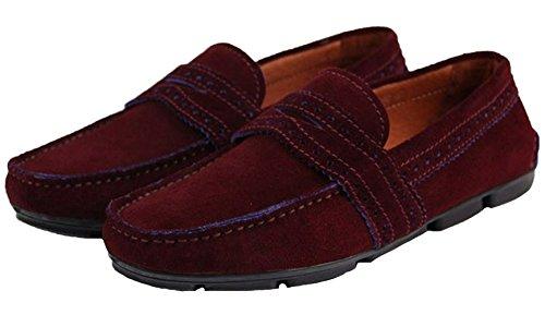 Santimon Mens Confort Décontracté Véritable Nubuck Cuir Extérieur Bateau Bas Chaussures Mocassins Mocassins Rouge