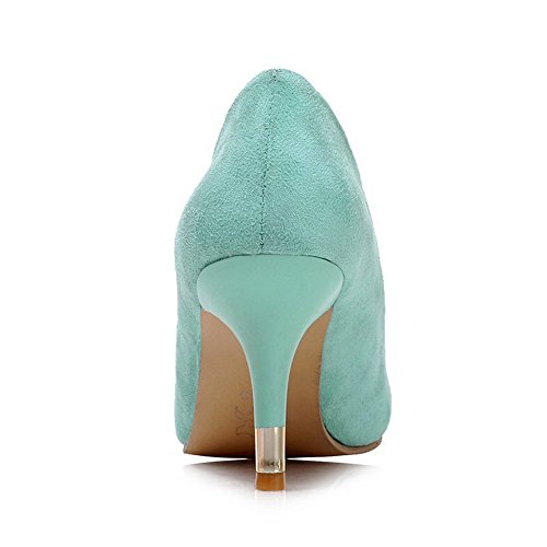 Amoonyfashion Gonnellino Da Donna Tinta Unita Tira Su Punta Smerigliata A Punta Smussata-scarpe Verdi