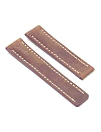 DASSARI Venture Tan Distressed Italian Leather Watch Band for BREITLING 22/20 22mm