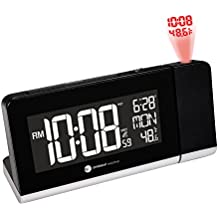 Ambient Weather RC-8465 Radio Controlled  Projection Alarm Clock with Color Changing Temperature Display