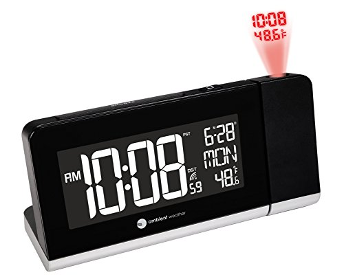 (Ambient Weather RC-8465 Radio Controlled Projection Alarm Clock with Color Changing Temperature Display)