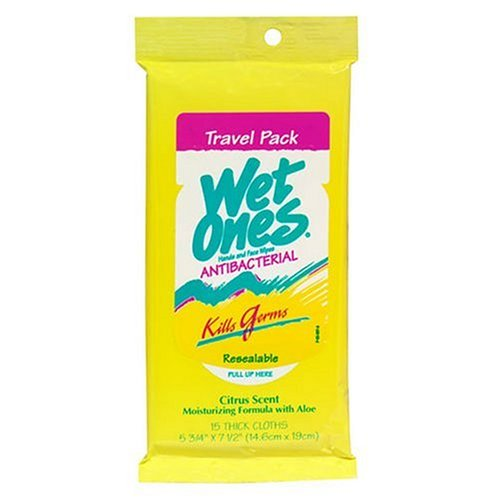 Wet Ones Citrus Antibacterial Hand  Wipes Travel Pack, 15-Count