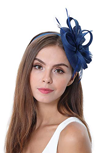 homy Fascinator Hats Feather Fascinators for Women Pillbox Hat Headband for Wedding Derby Tea Party Race, A - Navy Blue, Small