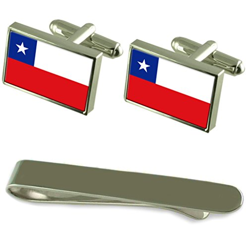 Chile Flag Silver Cufflinks Tie Clip Engraved Gift Set by Select Gifts