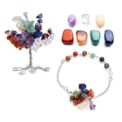 CrystalTears 7 Chakra Gems Set,Money Tree & Irregular Chakra Stones & 7 Chakra Chips Stones Bracelet Reiki Healing Crystal Feng Shui Spiritual Decor Ornaments -