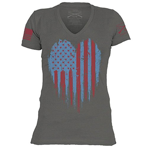 Grunt Style Motorsports Love America Women's T-Shirt, Color Grey, Size Medium by Grunt Style