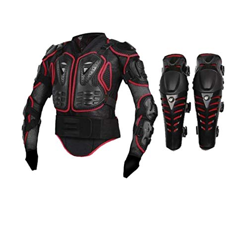 Motorcycle Body Armor Moto Protective Gear Motorcycle Jacket+Shorts Pants+Protection Knee Pads+Gloves Guard red2 L