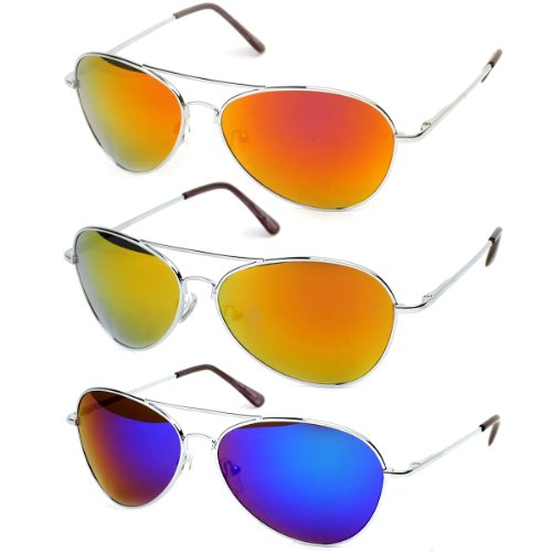 zeroUV - Premium Full Mirrored Aviator Sunglasses w/ Flash Mirror Lens