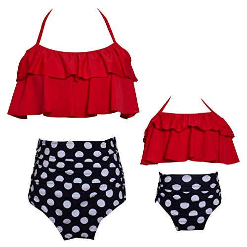 Ababalaya Mommy and Me Matching Family Swimsuits Mother and Daughter Bikini Bathing Suit Beachwear Sets, Red-Black-Dot, Mum, XX-Large