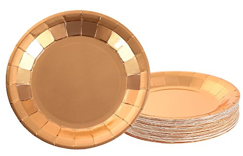 Disposable Plates - 48-Pack Paper Plates Party Supplies for Appetizer, Lunch, Dinner, and Dessert, Kids Birthday Party Favors, Bronze Foil, 9 x 9 Inches