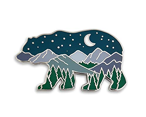 Pinsanity Bear Mountain Landscape at Night Enamel Lapel Pin