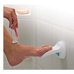 Safe-er-Grip Suction Cup Swivel Shower Bar with Safe-er-Grip Suction Cup Footrest