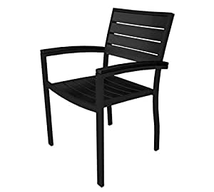 "33.5"" Earth-Friendly Recycled Patio Dinner Chair - Black with Black Frame"
