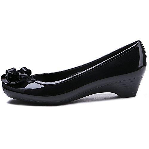 Shoes Footwear Rain Heel Low Bowtie Black Garden TONGPU Women's Waterproof q6pR18