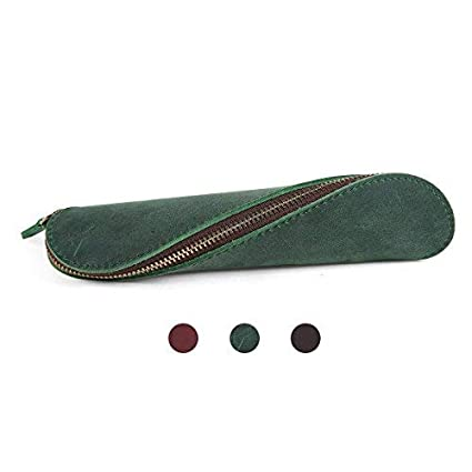 49f60786b01c Image Unavailable. Image not available for. Color  Genuine Leather Pencil  Pouch Pen Holder Cosmetic Bag Lipstick Organizer Travel Makeup Case ...
