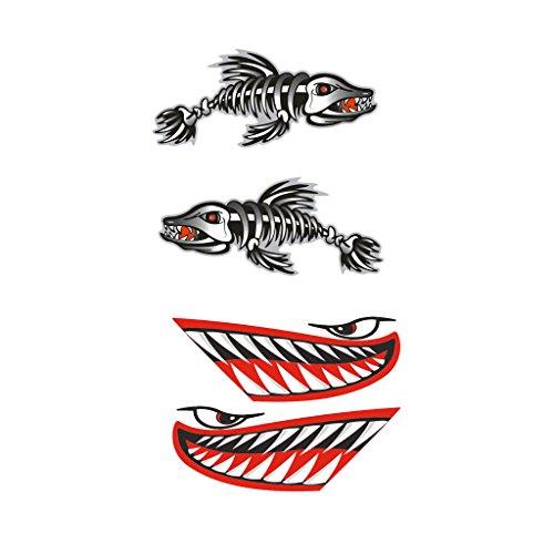 MagiDeal 4pcs Calcomanías de Esqueleto de Huesos Pescado Etiqueta Adhesiva de Decoración para Kayak Canoa - Negro Rojo 1