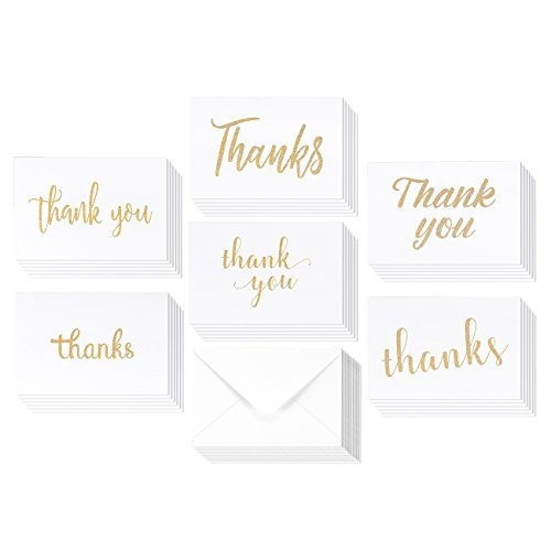36 Pack Blank Thank You Gold Glitter Greeting Cards 6 Golden Glitter Sprinkle Style Designs Bulk Box Set (4 x 6 inches)