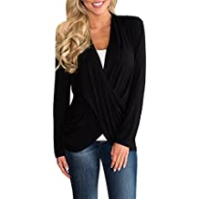 GAMISOTE Womens Cross Wrap Front Blouse Summer Deep V Neck Long Sleeve T Shirt Tops