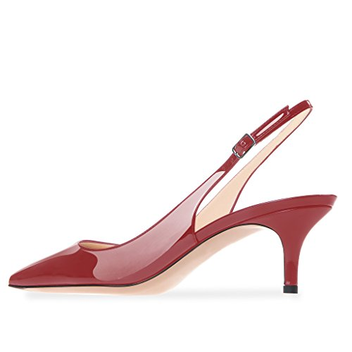 Modemoven Women's Patent Leather Pointed Toe Slingback Ankle Strap Kitten Heels Pumps Evening Stiletto Shoes 6.5CM Red Wine